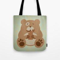teddy bear Tote Bags featuring Teddy Bear by EinarOux
