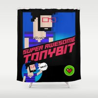 8 bit Shower Curtains featuring 8-bit by EarlyHuman