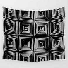 Minimal linocut printmaking geometric square maze pattern scandinavian minimalist Wall Tapestry