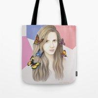 karen hallion Tote Bags featuring Karen by Anya Timofeeva