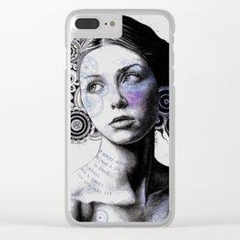 Ayil (vintage lady portrait, mandala doodles sketch) Clear iPhone Case