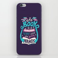 risa rodil iPhone & iPod Skins featuring Book is a dream by Risa Rodil