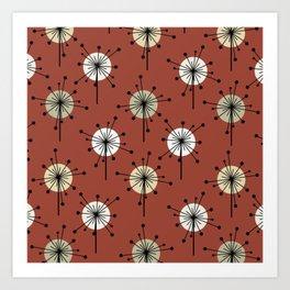 Midcentury Sputnik Starburst Flowers Brick Red Art Print
