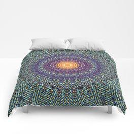 Happy Sun Circle Bohemian Geometric Thread Weave Pattern \\ Yellow Green Blue Purple Color Scheme Comforters