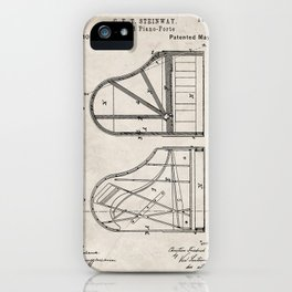Steinway Grand Piano Patent - Piano Player Art - Antique iPhone Case