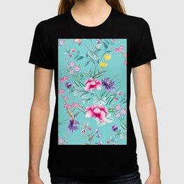 Chinoiserie Decorative Floral Motif Pale Turquoise T-shirt