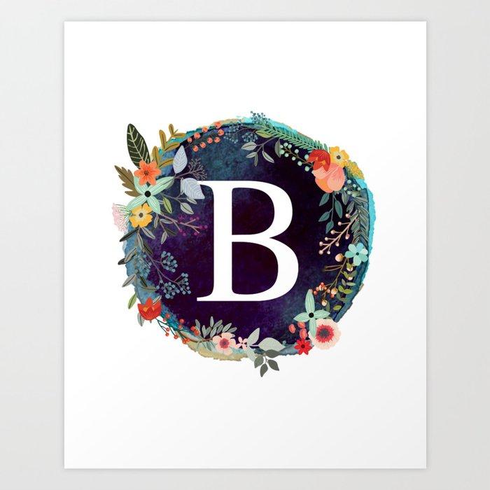 Personalized Monogram Initial Letter B Floral Wreath Artwork Kunstdrucke