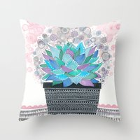 succulent Throw Pillows featuring succulent by Asja Boros