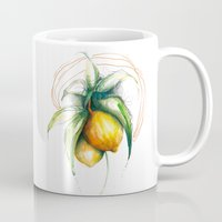 lemon Mugs featuring Lemon by Alejandra Lara