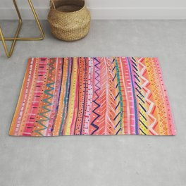 Hand painted Bright Patterned Stripes Rug