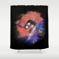tardis Shower Curtains featuring TARDIS by bb0t