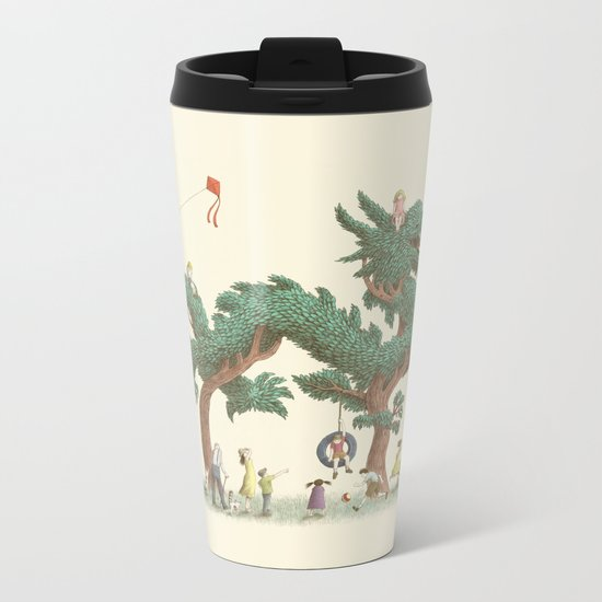 The Night Gardener - Dragon Topiary  Metal Travel Mug