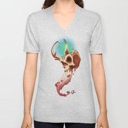 Horned Skull Unisex V-Neck
