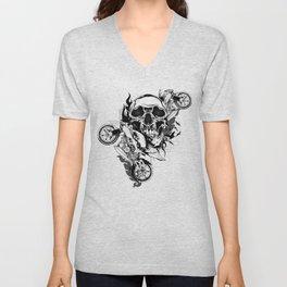 Until One of Us Starts Raving - Skull and Motorbikes b/w Unisex V-Neck