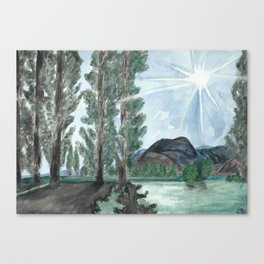 orondo // watercolor landscape washington trees mountains Canvas Print