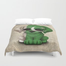 Cute Puppy Dog with flag of Pakistan Duvet Cover