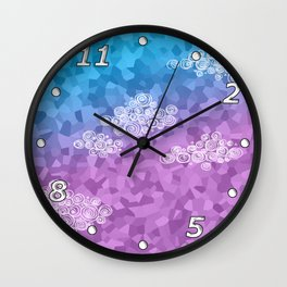 Abstract clouds - dudle on colorful background Wall Clock