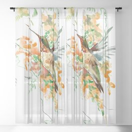 Hummingbird and orange flowers Sheer Curtain