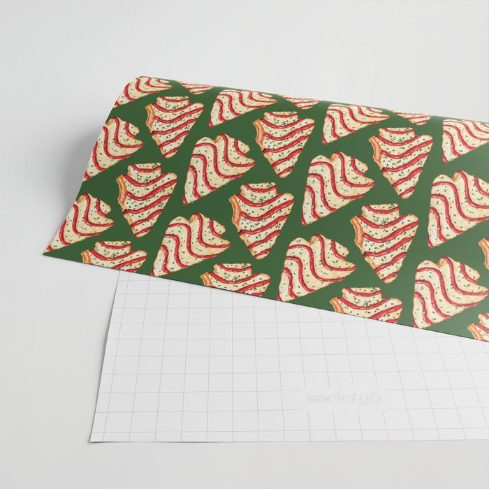 Christmas Tree Cakes Pattern - Green Wrapping Paper