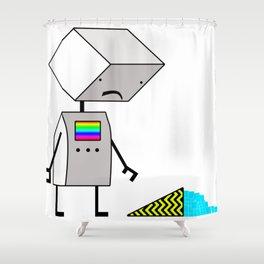 Sad Robot Shower Curtain