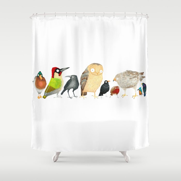Woodland Bird Collection In White Shower Curtain