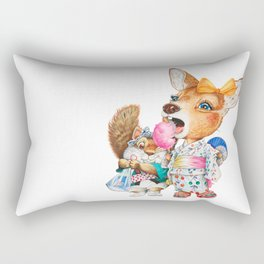 A child deer and squirrel at the summer festival Rectangular Pillow