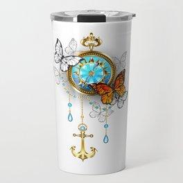 Compass with Butterflies Travel Mug