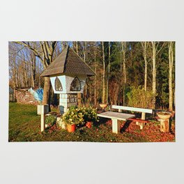 Wayside shrine and a bench | architectural photography Rug
