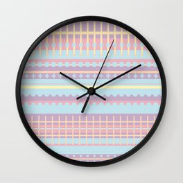 PPASTELL - Pastel, Pink, Lilac, Stripes, Nursery, Baby, Blue Wall Clock