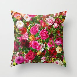 Elegant Vintage Floral Rose Garden Blossom Throw Pillow