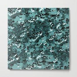 Turquoise Blue Popular Multi Camo Pattern Metal Print
