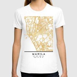 MANILA PHILIPPINES CITY STREET MAP ART T-shirt