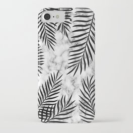 Black palm leaves on marble iPhone Case