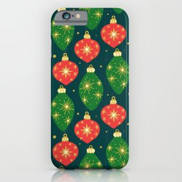 Vintage Festive Hand-painted Christmas Tree Ornaments with Beautiful Acrylic Texture on Dark Teal Color iPhone Case