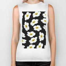 White flowers on a black background #Society6 #buyart Biker Tank