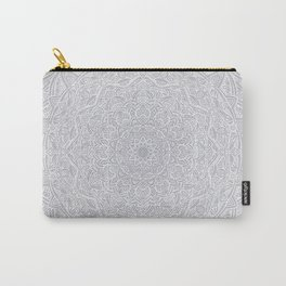 Most Detailed Mandala! Cool Gray White Color Intricate Detail Ethnic Mandalas Zentangle Maze Pattern Carry-All Pouch