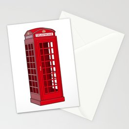 Red English Phone Booth Stationery Cards