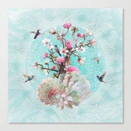 FLORAL HUMMINGBIRD Canvas Print