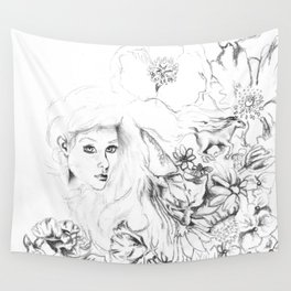 Flowers And Dreamscapes {1}: Black and White Wall Tapestry