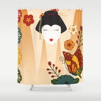 geisha Shower Curtains featuring Geisha  by Ashley Hay