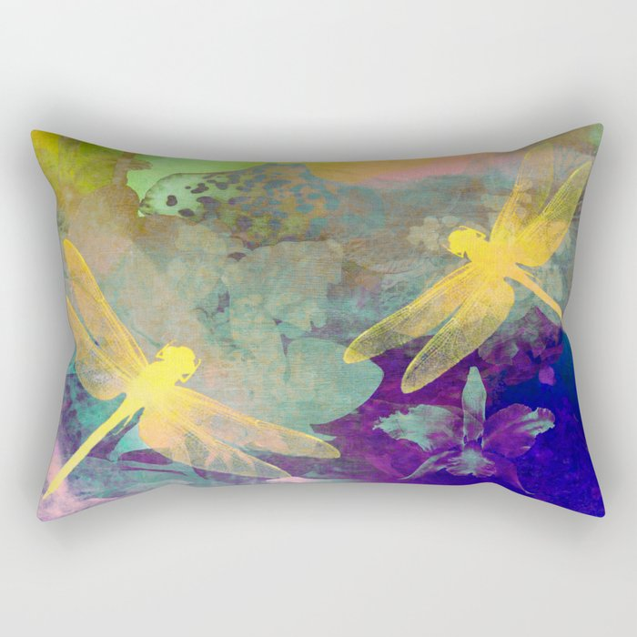 Yellow Dragonflies Rectangular Pillow