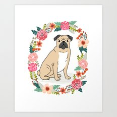 Pug flower ring cute dog gift idea valentines day love pet animal pugs cute puppy dogs floral Art Print
