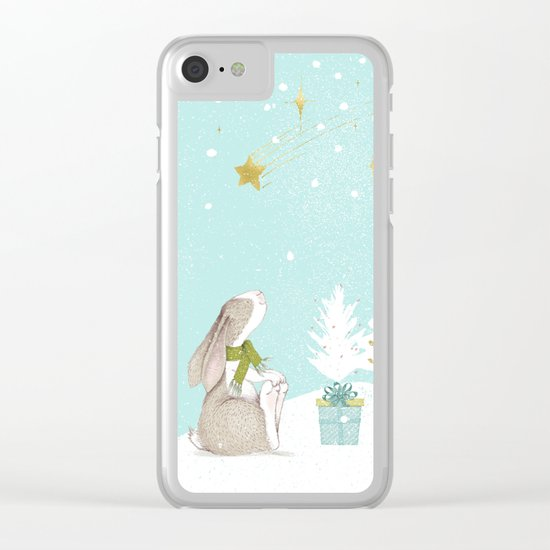 Bunny looking for Christmas- Beautiful watercolor illustration for children and all Clear iPhone Case