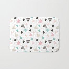 Geometrical pastel color triangles polka dots pattern Bath Mat