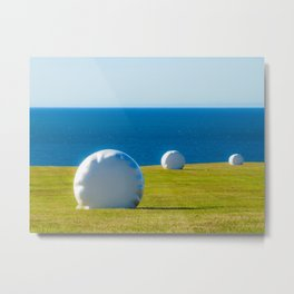 Hay Bales Iceland   Blue Green White Landscape   Fine Art Prints Metal Print