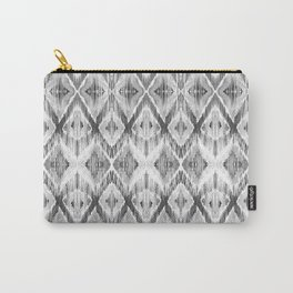 Black and White Watercolour Ikat Pattern Carry-All Pouch