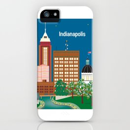 Indianapolis, Indiana - Skyline Illustration by Loose Petals iPhone Case
