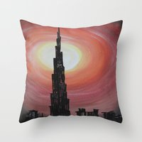 wiz khalifa Throw Pillows featuring Burj Khalifa by sladja