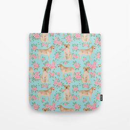 Yellow Labrador Retriever dog breed pet portraits floral dog pattern gifts for dog lover Tote Bag