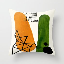 Mid Century Modern Abstract Minimalist Retro Vintage Style Yellow Ochre Olive Green Shapes Ornament Throw Pillow